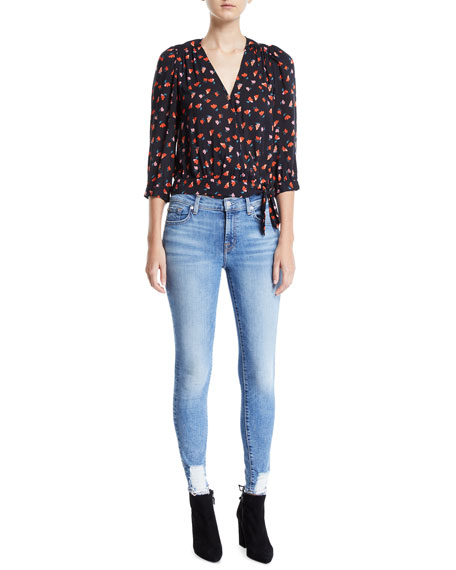 7 For All Mankind Mid-Rise Ankle Skinny Jeans with Chewed Hem