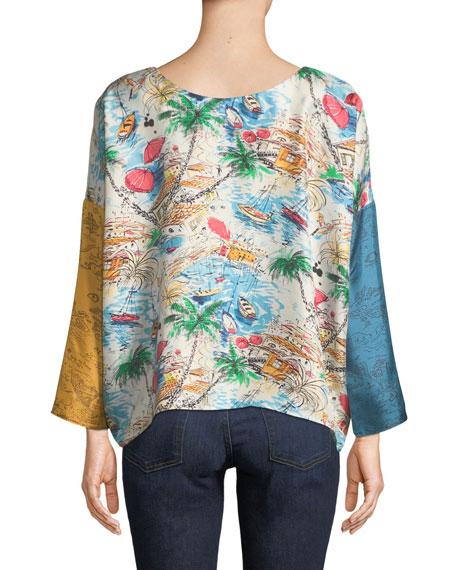La Prestic Ouiston Janine Mixed-Print Silk Blouse