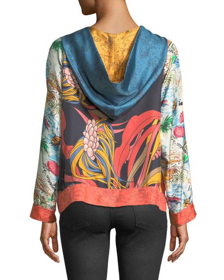 La Prestic Ouiston Long-Sleeve Multi-Print Silk Hoodie