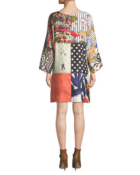 La Prestic Ouiston Mila Long-Sleeve Patch Printed Silk Dress