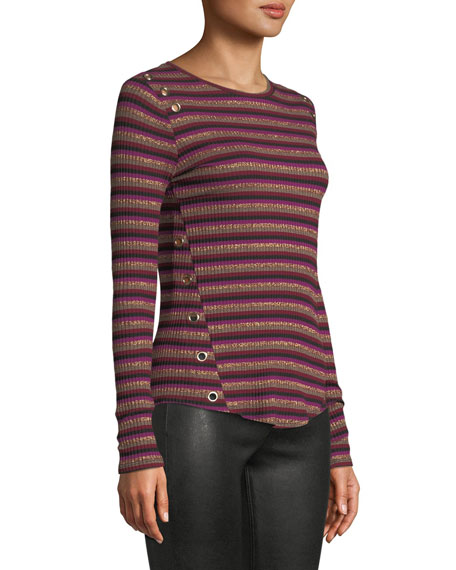Image 3 of 3: Gilly Striped Metallic Long-Sleeve Top with Eyelet Details