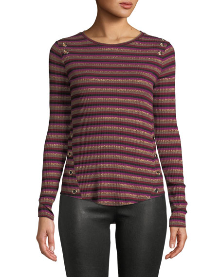 Image 1 of 3: Gilly Striped Metallic Long-Sleeve Top with Eyelet Details