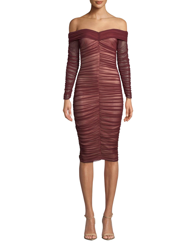 612327fc77f2 Ryse Zuri Shirred Tulle Off-Shoulder Cocktail Dress
