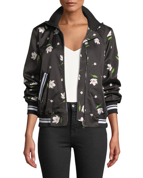 Milly Mock-Neck Floral Print Long-Sleeve Bomber Jacket