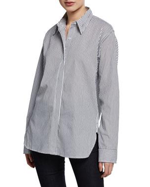 ce6021cc1569c Kendall + Kylie Striped Oversized Poplin Shirt with Cutout Yoke
