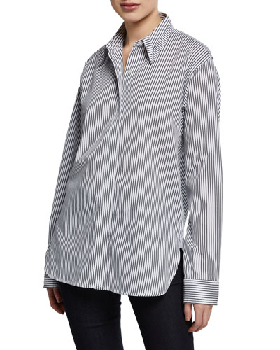 Striped Oversized Poplin Shirt with Cutout Yoke