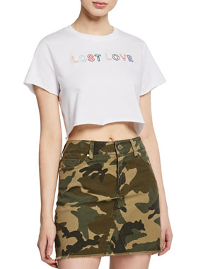 9e48911730a Kendall + Kylie Muse Short-Sleeve Embroidered Crop Tee