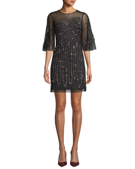 Aidan Mattox Graphic-Beaded Sheer Mini Dress