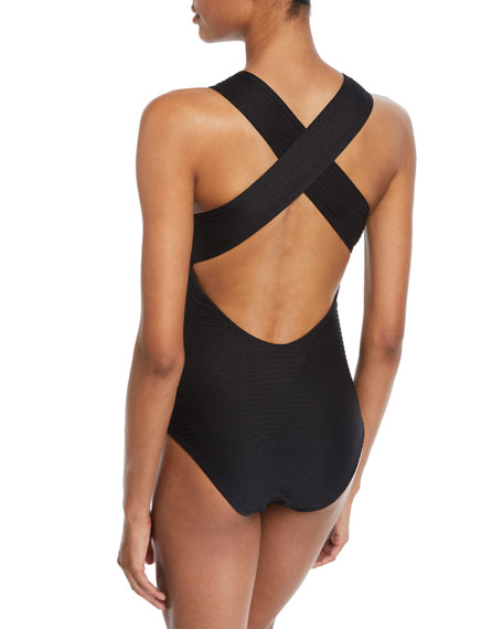 Shoshanna Black Tide Jacquard One-Piece Swimsuit With High-Neck