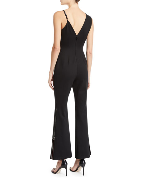Donna Mizani Pipin Sleeveless Asymmetric Zip-Hem Jumpsuit