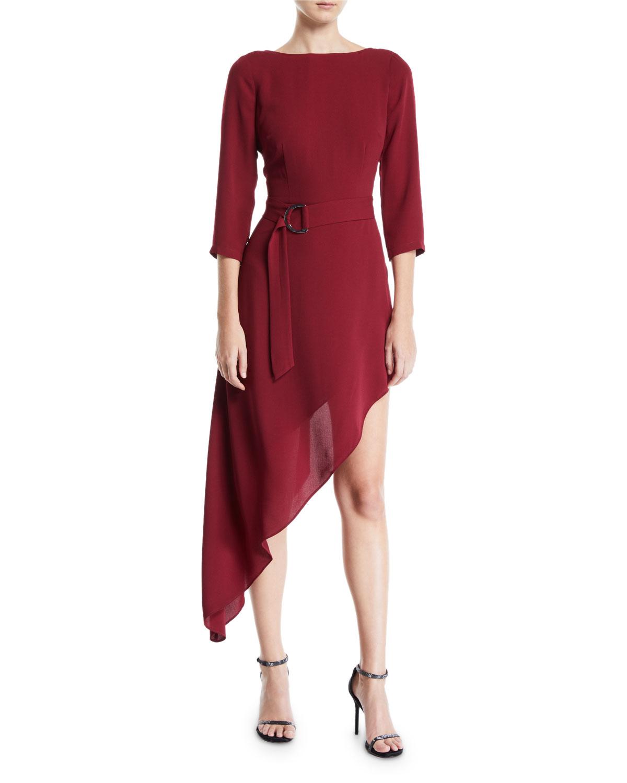 b60f0f9508e Donna Mizani Iva Asymmetric Belted Dress