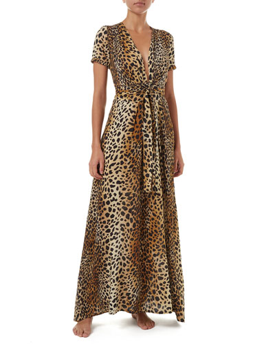 Lou Cheetah-Print Belted Short-Sleeve Maxi Dress