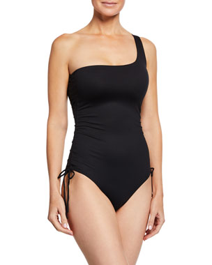 fd39af61778eb Melissa Odabash Polynesia One-Shoulder Ruched One-Piece Swimsuit