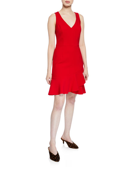 Trina Turk Spumante V-Neck Sleeveless Double Luxe Dress with Flounce Hem