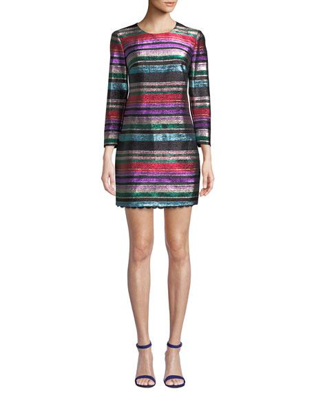 Trina Turk Occasion Jewel-Neck 3/4-Sleeve Metallic Party Striped Dress