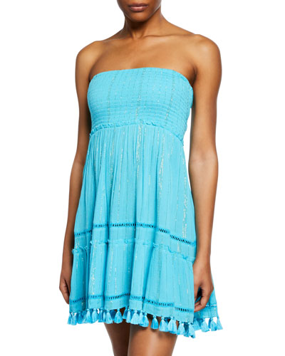 Smocked-Bodice Strapless Dress
