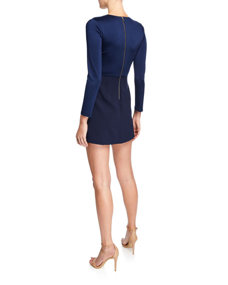 Alice + Olivia Evette V-Neck Asymmetrical Dress