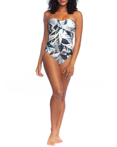 Moment of Zen Printed Bandeau One-Piece Swimsuit, Plus Size