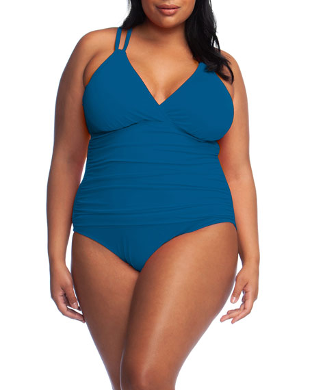 La Blanca Plus Size Island Goddess Surplice Underwire One-Piece Swimsuit