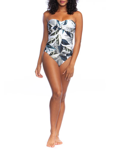 Moment of Zen Printed Bandeau One-Piece Swimsuit