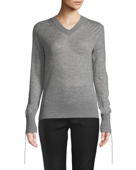 Helmut Lang Tie-Cuff Sheer Cashmere V-Neck Sweater