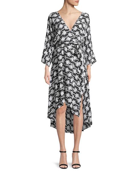 Diane von Furstenberg Long-Sleeve Asymmetric-Hem Floral-Print