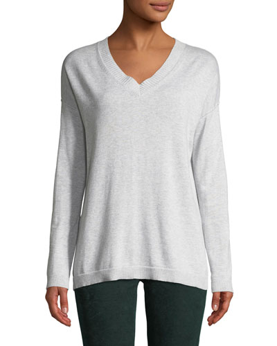 Shine On Sequin-Elbow V-Neck Long-Sleeve Cotton Sweater  Plus Size