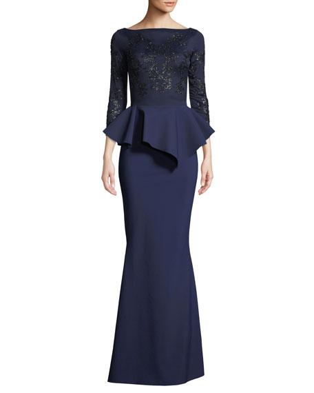 Chiara Boni La Petite Robe Alegria Embellished Peplum Gown
