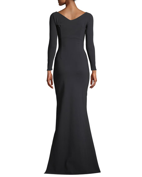 Chiara Boni La Petite Robe Bilgi Long-Sleeve Jersey Colorblock Gown