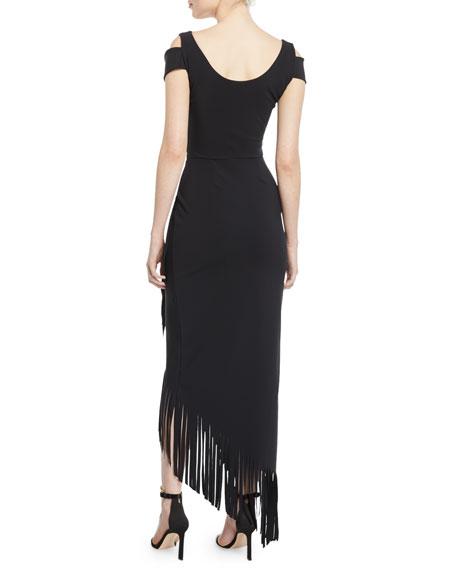 Chiara Boni La Petite Robe Rhoda Asymmetric Fringe Cold-Shoulder Dress