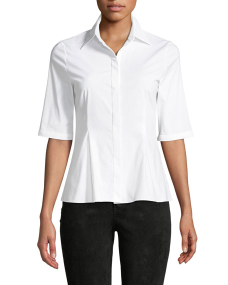 Alice + Olivia Toro Button-Down Top with Removable Pleated Cuffs