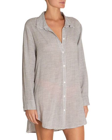 Eberjey Strada Striped Coverup Beach Shirt