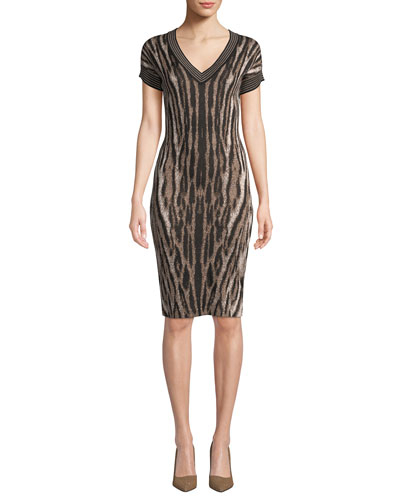V-Neck Short-Sleeve Animal-Print Cocktail Dress
