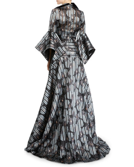 Badgley Mischka Collection Striped Floral Shirtdress Gown