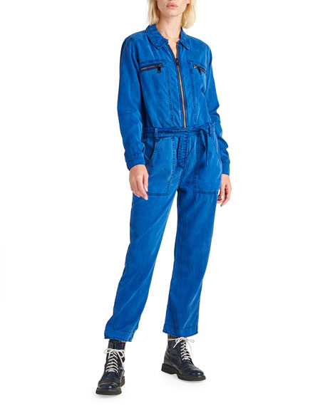 Hudson Belted Zip-Front Twill Jumpsuit