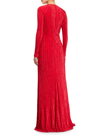 Image 2 of 2: Badgley Mischka Collection Fortuni Knotted Long-Sleeve Drape Dress