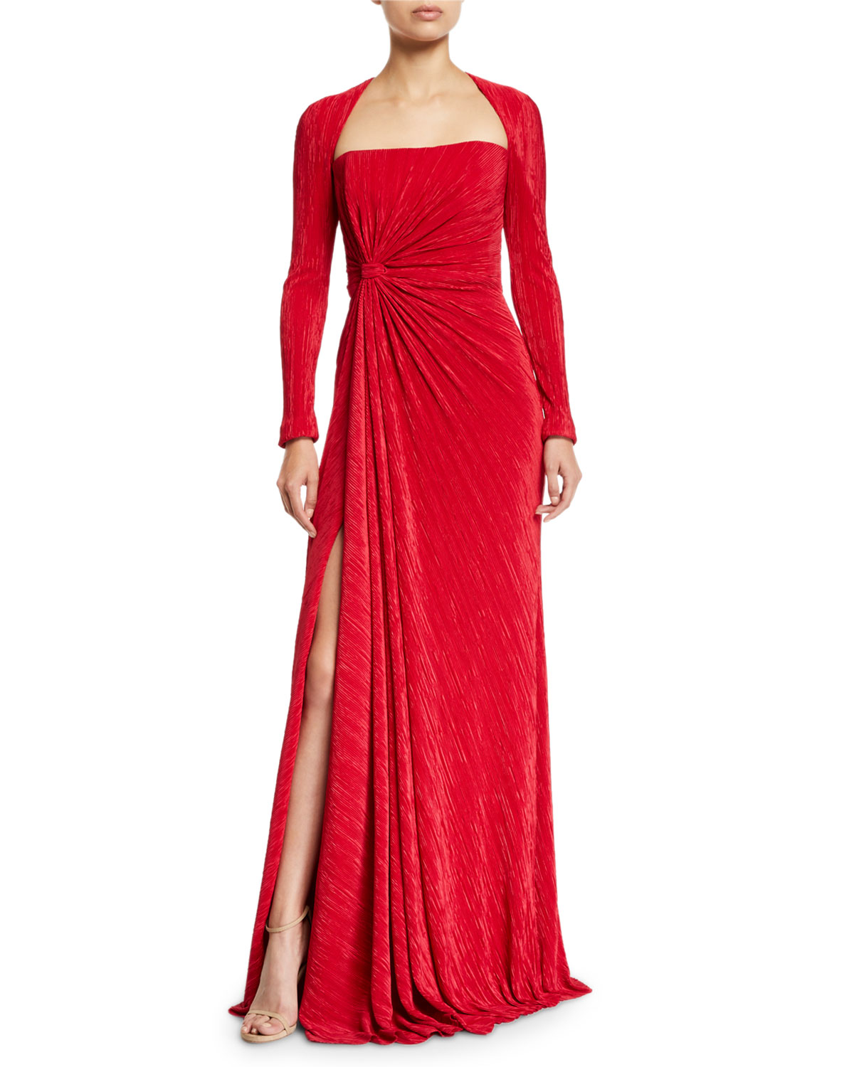 Badgley Mischka Collection Fortuni Knotted Long-Sleeve Drape Dress