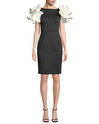 Bateau-Neck Knee-Length Scuba Dress w/ Contrast Puff Sleeves