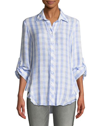Agetha Button-Front Roll-Tab Sky Check Blouse  Plus Size