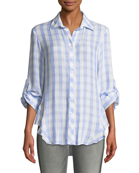 FINLEY Agetha Button-Front Roll-Tab Sky Check Blouse, Plus Size in White/Blue