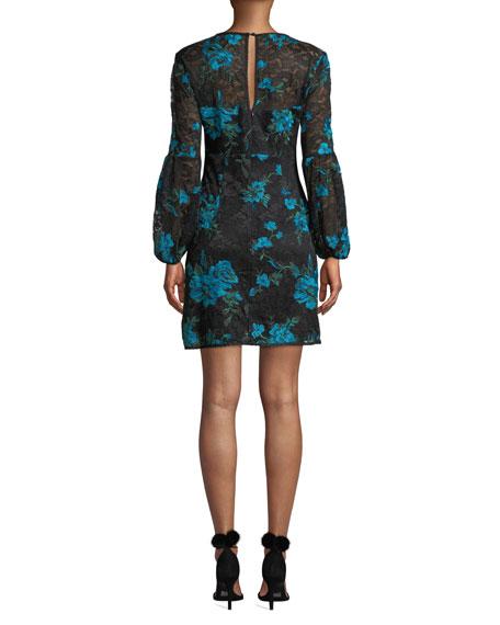 Nanette Lepore Aerial Blouson-Sleeve Floral Lace Mini Dress