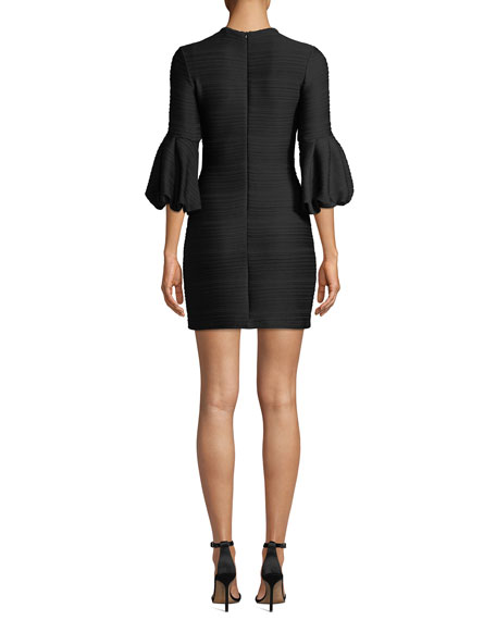 Image 2 of 3: Crewneck Balloon-Sleeve Stretch-Knit Jacquard Mini Dress