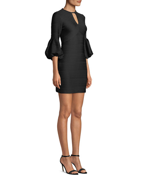 Image 3 of 3: Crewneck Balloon-Sleeve Stretch-Knit Jacquard Mini Dress