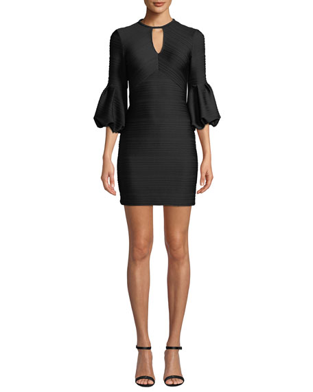 Image 1 of 3: Crewneck Balloon-Sleeve Stretch-Knit Jacquard Mini Dress