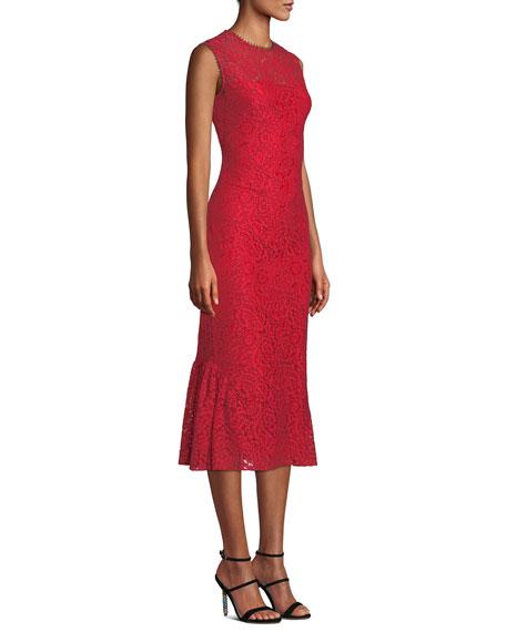 Shoshanna Manor Sleeveless Floral-Lace Midi Dress