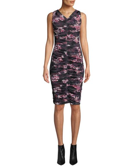 Black Halo Yasmin Sleeveless V-Neck Floral-Printed Shirred Mesh Dress