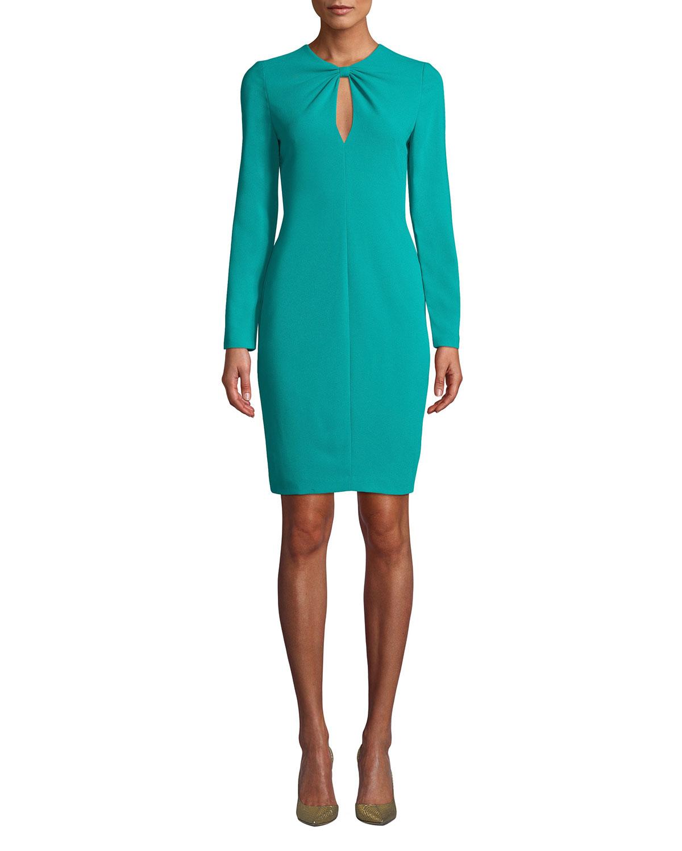 8092f0a3cf0c Black Halo Aerin Keyhole Long-Sleeve Dress   Neiman Marcus