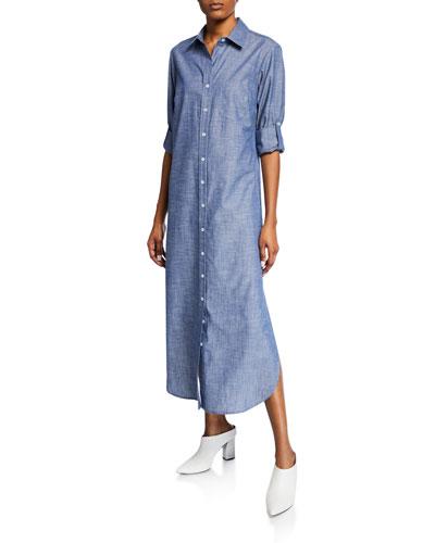Button-Front Long Chambray Cotton Shirtdress