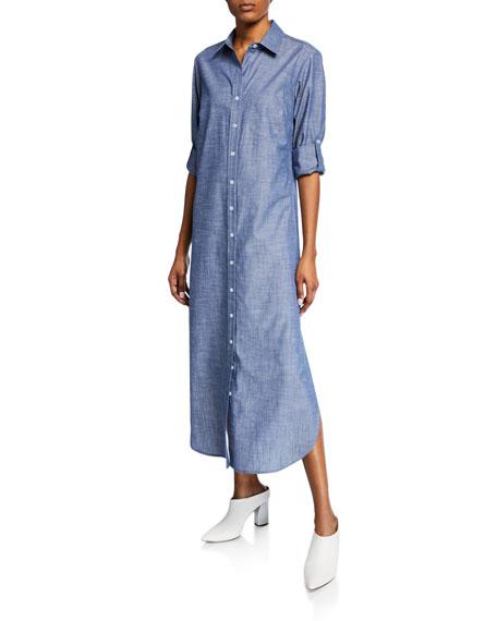 FINLEY Button-Front Long Chambray Cotton Shirtdress