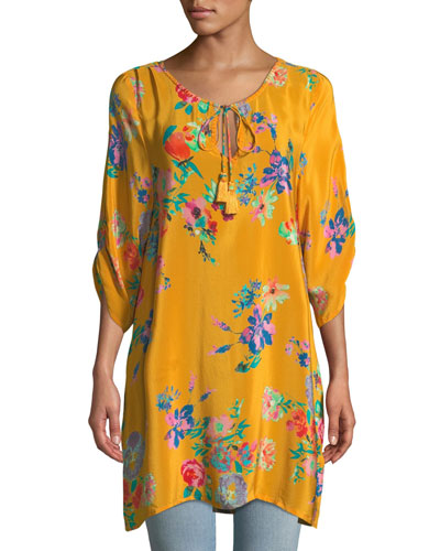 3/4-Sleeve Floral-Print Silk Long Tunic